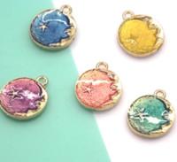 estrela pendente de zinco venda por atacado-10 pçs / lote Lua Charme Gota de Petróleo Liga de Zinco Colorido Lua e Estrela esmalte Charme Pingentes