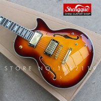 Wholesale musical ebony fingerboard for sale - Group buy Factory custom F hole jazz guitars with sunburst color strings electric guitar with ebony fingerboard musical instrument Shop