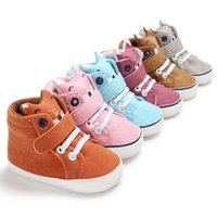 ingrosso scarpe cute del neonato-Newborn Baby Kids Shoes Autunno Inverno Cute Cartoon Fox primi camminatori Culla Boys Girls Lace-Up Sneakers sportive stivali