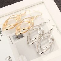 ol-legierung großhandel-Twisted Diamond Shaped Multi-Layer-Ohrringe mit Doppelringen Fair Lady OL Classic Fashion Ultra - glänzende Legierung Ohrringe