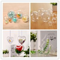 Wholesale xmas ornaments boxes resale online - 4 CM Polymorphic Christmas Tree Decoration Ball Xmas Hanging Ornament Ball Openable Clear Gift Box Candy Boxes Wedding Party Decoration