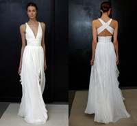 Wholesale Greek Backless Dress - 2018 Beach Wedding Dresses for Greek Goddess Simple Brides Wear Sale Cheap Long Pleated Split Full Length Skirt Bohemian Boho Bridal Gowns
