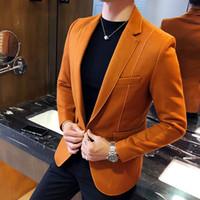 özel blazerler erkek toptan satış-Yün Blend Blazer Erkekler 3 Katı Renk, Siyah Gri Turuncu İş Casual Erkek Vintage Blazer Ceket Erkekler Erkek Takım Elbise Ceket 5XL