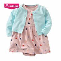 ensembles de vêtements pour bébés nouveau-nés achat en gros de-Semillero 2018 Automne Mode Coton Rose Bleu Coeur Dot New Born bébé fille vêtements Manteau Body Dress Sets BC059