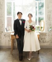 Wholesale tea length wedding dresses online - Custom Made Tea Length Wedding Dresses Deep V Neck Half Sleeve High Quality Satin Bridal Dresses Simple Wedding Gowns