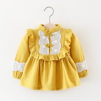 Wholesale elegant lolita - 4 color 2018 INS Spring NEW arrival Girls Kids long Sleeve cotton girl cute lace dress kids causal girl elegant dress free shipping