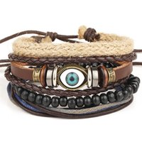 Wholesale leather cuff bracelet accessories - Punk Genuine Wrap PU Leather Evil eye Bracelets Men For Women Cuff Vintage Jewelry Accessories