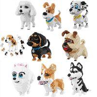Wholesale dogs toy poodle online - balody Cartoon Dog Mini Diamond Building Block Poodle Dachshund Corgi Husky Pug Model Brick Toy For Kids