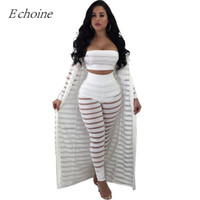 ff609b1d6e7 2018 Sexy Hollow Out 3 Pieces Set Womens Strapless Crop Top Sheer Stripe  Mesh Pants Long Cardigan Set Plus Size Club Outfits