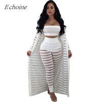 traje de cardigan beige al por mayor-2018 Sexy Hollow Out 3 Piezas Set Mujeres sin tirantes Crop Top Sheer Stripe Mesh Pants Long Cardigan Set Plus Size Club Outfits