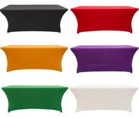 tischdecken für veranstaltungen großhandel-Elastische Lycra Tischdecke rechteckig ausgestattet Stretch Spandex Hochzeit Tischdecke oder Hotel Event Party Dekoration