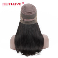 "Wholesale Human Hair Wigs Malaysia - Hotlove Brazilian Straight 360 Lace Frontal Wigs with Baby Hair Pre Plucked Peruvian Virgin 360 Lace Front Human Hair Wigs 10-24"" Malaysia"