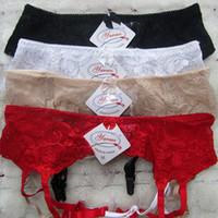 Wholesale Red Wedding Garter Belt - Pus Size Sexy Women Garters Suspenders Belt Wedding Lace Double Adjustable Waist Belt For Sexy Stockings Underwear Lenceria