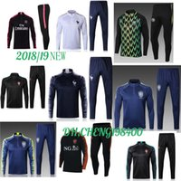 Wholesale polyester long sleeve shirts - 2018 2019 Brazil tracksuit training suits Uniforms shirts Chandal World Cup MBAPPE jacket tracksuits Survetement long sleeve tight pants