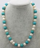 белое жемчужное бирюзовое ожерелье оптовых-freshwater pearl white near round 9-10mm and green turquoise necklace 18inch FPPJ wholesale  nature