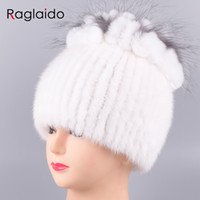81339db44fad4 Raglaido Mink Fur Hats Russian Knittd Real Fur Cap with fox fur decoration  handsewing Floral Winter Beanies Snow Hat LQ11211