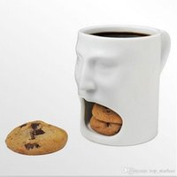 Wholesale free pottery - 2017 New Face Mug Ceramic Coffee Cup Side Cookie Biscuit Pocket Holder Milk Juice Lemon Mug Drinkware Free DHL XL-228