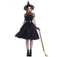 schwarze königin kostüm großhandel-Halloween Black Yarn Hexe Cosplay Kostüm Hexen Anzug Temperament Night Ghost Spiel Kleidung Party Queen Kleid mit Hut Gürtel Handschuhe