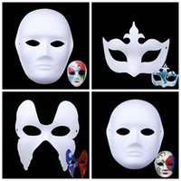 Wholesale art handmade painting for sale - Group buy DIY Children Art Painting Masquerade Handmade Pulp White Mold Mask Creative Inspire Imagination Gift Unpainted Party Mask CCA10219