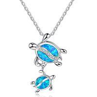 ingrosso collane opaline blu-Collane blu pendenti dei pendenti della tartaruga del doppio dell'opale di fuoco per i monili animali di modo delle donne