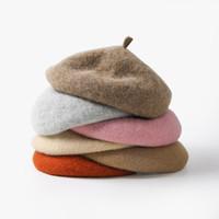 ingrosso berretti-New Wool Beret hat Female Winter Berets For Women Cappellino piatto Cappelli in cashmere Lady Girl Berets Bone Female Tocas Painter Hat