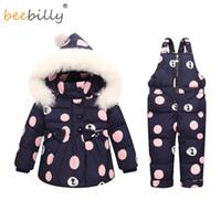 детские зимние пальто оптовых-Зима Baby Girls одежда устанавливает теплые дети пуховики дети Snowsuit Baby лыжный костюм девушки пуховики верхняя одежда пальто + брюки