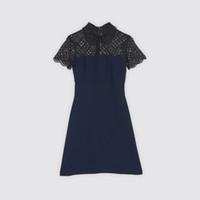diseño de vestido azul negro al por mayor-2018 mangas cortas azul cuello redondo negro ahueca hacia fuera el cordón con cuentas vestido de dama mujeres marca diseño arena vestido de una pieza MBLO18