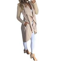 yeni kadın ön açık hırka toptan satış-Yeni Kadın Uzun Kollu Hırka Coat Drape Açık Ön Yüksek Düşük Kapak Up Dış Giyim
