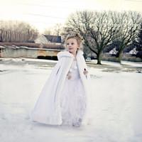 Wholesale satin cloaks - Lovely Girls Cape Custom Made Kids Wedding Cloaks Faux Fur Jacket For Winter Kid Flower Girl Children Satin Hooded Child Coats