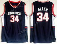 Wholesale Uconn Basketball - Men Basketball 34 Ray Allen College Jerseys Uconn Connecticut Huskies Allen Jersey Navy Blue Color Team All Stitched For Sport Fans