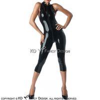 kauçuk kasığı toptan satış-Siyah Seksi Kolsuz Lateks Catsuit Buzağı Uzunluğu Ile Crotch Zip Kauçuk Bodysuit Vücut Suit Zentai Ön LTY-0225