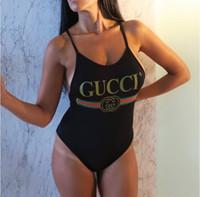 Wholesale swimwear online - 18ss Luxury designer swimwear Swimsuit Backless Letter striped Printing Triangle One Piece swimwear for women Vest Sexy Bikini Bathing Suit