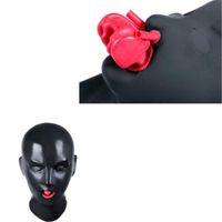 máscara de boca vermelha venda por atacado-100% Máscara De Látex De Borracha Unisex Capuz com Red boca Dentes Lábio enfrentando bainha tubo nariz nariz caber cabeça 54-57 cm