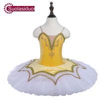 vestido de tutú amarillo para adultos al por mayor-Toddler Yellow Ballet Tutu Ropa de la etapa profesional Niñas Ballet Dance Performance Competition Dresses Falda de moda para adultos