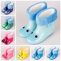Wholesale Kid Rain Gear - 7 Colors 5 Sizes Rainbow Jelly Rain Shoes Kids Catoon Waterproof Shoes Baby Rain Gear Cartoon Rain Boots With Cotton Wool CCA8657 20pairs