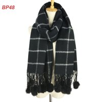 Wholesale Blue Rabbit Fur Scarf - Hot selling classical design many colors popular fashion plaid scarf stole with rabbit fur pom poms