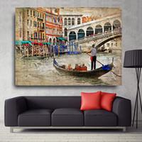 hermosas pinturas al óleo hd al por mayor-1 Pcs HD Spray en la lona Pinturas al óleo para la sala de estar Hermosa Venecia paisaje de la pared Pósteres la decoración del hogar moderno Artworks No Framed