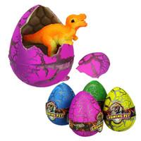 Wholesale plastic egg packaging - Dinosuar Eggs Novelty Gag Toys Magic Hatching Growing Animal Plastic Kid Toys Gift Xmas Educational Toys Birthday Presents OPP Bag Packages
