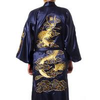 kimono yukata azul al por mayor-Dragón tradicional bordado Kimono Yukata vestido de baño azul marino hombres chinos traje de satén de seda Casual masculina Home Wear camisón