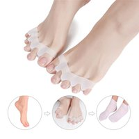 Wholesale red dividers resale online - Silicone Gel Finger Toe Separators Toe Straightener Stretchers for Women and Men Protector Thumb Divider Foot Care Tool