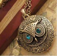 hiboux en laiton vintage achat en gros de-Détails sur Lady Punk Antique Vintage Laiton Pendentif Hibou Locket Collier Bleu Zircon Eye Set