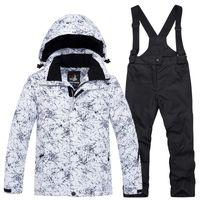 conjuntos térmicos para niños al por mayor-ARCTIC QUEEN -30 Traje de esquí para niños conjuntos al aire libre Gilr / Boy esquí snowboard ropa impermeable térmica chaqueta de invierno + pantalón