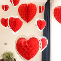 Wholesale Red Heart Lanterns - 25 35 40cm Heart Shaped Honeycomb Balls Lanterns Love Tissue Paper Honeycombs Valentine Wedding Home Party Decoration ZA5823