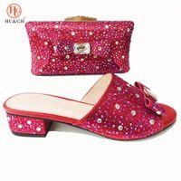 zapatos a juego conjuntos de bolsos al por mayor-Nuevos zapatos italianos con bolsos a juego Conjunto de bolsos y bolsos de fiesta para mujeres africanas de Italia Sandalias altas y bolso de color rojo para mujer