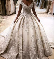 Wholesale bridal wedding dress rhinestone online - Princess Rhinestones Lace A Line Wedding Dresses D Flower Appliques Off Shoulder Crystals Bridal Gowns Long Cathedral Train vestidos largos