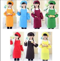 Wholesale painting bibs - Kids Apron Pocket Craft Cooking Baking Bib Kids Aprons Chef Hat arm sleeve 3pcs 1set Painting Drawing Art Bib Chef Apron KKA5211