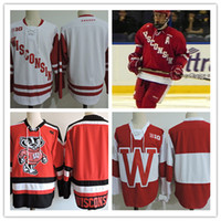 Wholesale Big Ten - Mens NCAA Big ten Wisconsin Badgers College Hockey Jerseys adults White Red Stitched Wisconsin Badgers Jersey S-3XL