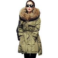 Wholesale Green Coat Fur Collar - 2017 Fur Winter Jacket Women White Duck Parka Jackets Natural Raccoon Fur Collar Female Winter Coat Women Parkas CC054