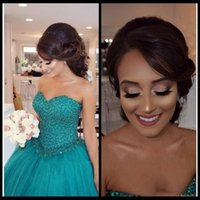 Wholesale Yellow Turquoise Quinceanera Dresses - Turquoise Ball Gown Sweet 16 Quinceanera Dresses Plus Size Major Beading Sweetheart Corset Tulle Long Party Prom For Girls 2018 Arabic