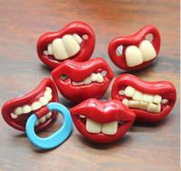 sevimli bebek emzikleri toptan satış-Bebek Emzik Sevimli Komik Diş Sakal Bıyık Bebek Emzik Ortodontik Kukla Bebek Meme Silika jel bebek Emzik